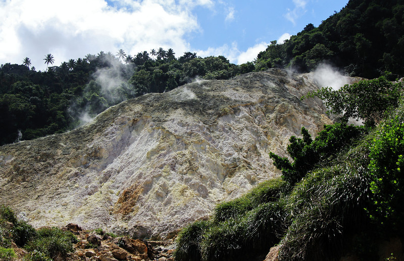 The St Lucia volcano, also called the St Lucia sulphur springs is said to be the only drive-in volcano in the world. The last minor eruption occurred in the late1700's. It was only a steam eruption but not one with magma and ash.