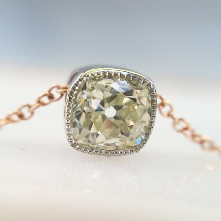 .66ct Antique Cushion Cut Diamond Bezel Pendant