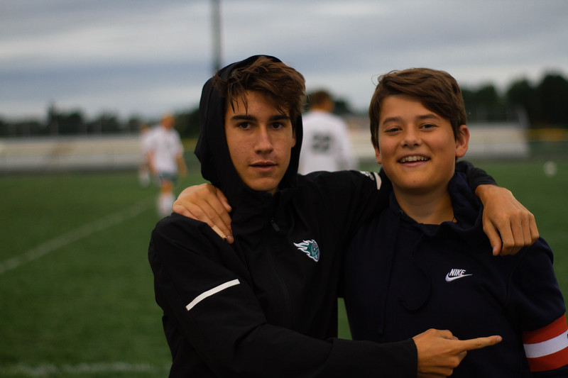 Holy Family Boys Varsity Soccer vs. Hutchinson, 9/26/19: Finn Dowling '21 (7) & Manager Zach Bornhoft '21