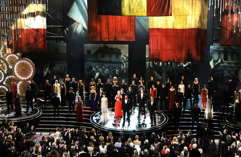 . Hugh Jackman and the cast of Les Miserables perform onstage during the Oscars held at the Dolby Theatre on February 24, 2013 in Hollywood, California.  (Photo by Kevin Winter/Getty Images)