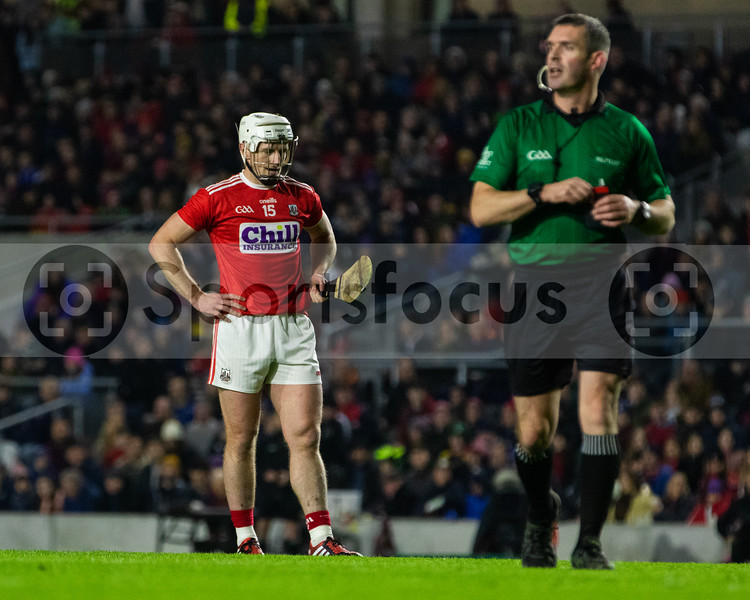 Cork's Patrick Horgan stands over the penalty with match referee James Owens (Wexford) in the picture as well