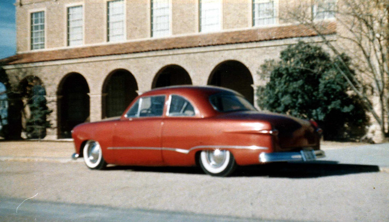 """The ORIGINAL """"Judge""""...1949 Ford Coupe with a '58 Pontiac Tri-Power (three-two barrel carbs) engine, that my brother, Steve built back in the 50's with a little help from his friends......I have duplicated, except with a BAD ASS 383 Stroker Small Block Chevy and S-10 front clip and Jaguar XJS Independent suspension with inboard disk brakes - rear end. Picture taken in front of Engineering Department Building, Texas Tech, Lubbock, Texas in 1960. It's the only picture we have of her. Peaked '51 hood, J.C. Whitney tube grille, rear fender joints smoothed, and trunk lid filled in on the indention. Door handles skimmed off. We had a hood T-handle and cable to open the driver's side door under the wheel well. Took the heater core out, brazed hinges on bottom cover, and a latch on top. A six pack would fit perfectly (just in case). The chrome strip came from a 1955 Dodge Lancer."""