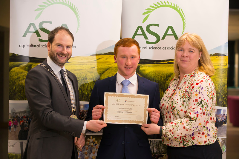 Pictured at the Waterford Institute of Technology- ASA (Agricultural Science Association) Student Mock Interviews. Pictured are Derrie Dillon, President of ASA association, Sean McEnroe, student, Sue Phelan, Tramore Racecourse. Picture: Patrick Browne