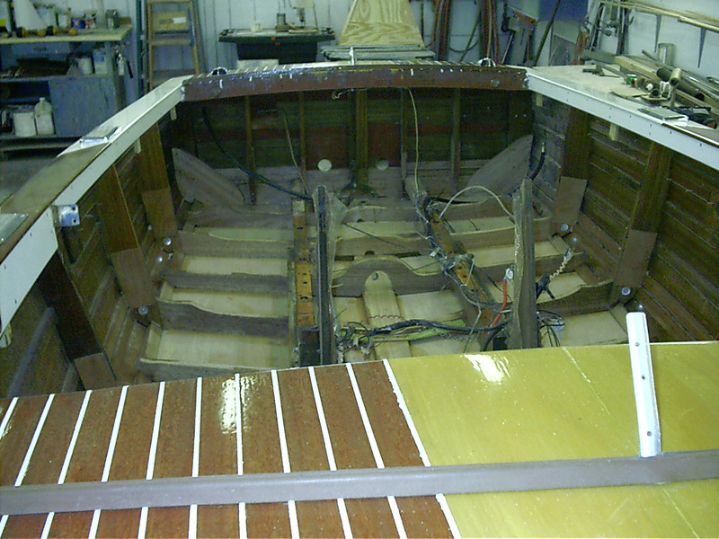 Looking toward transom at new frames and bottom.