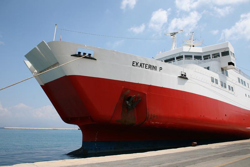 F/B EKATERINI P moored in Corfu : openable bow.