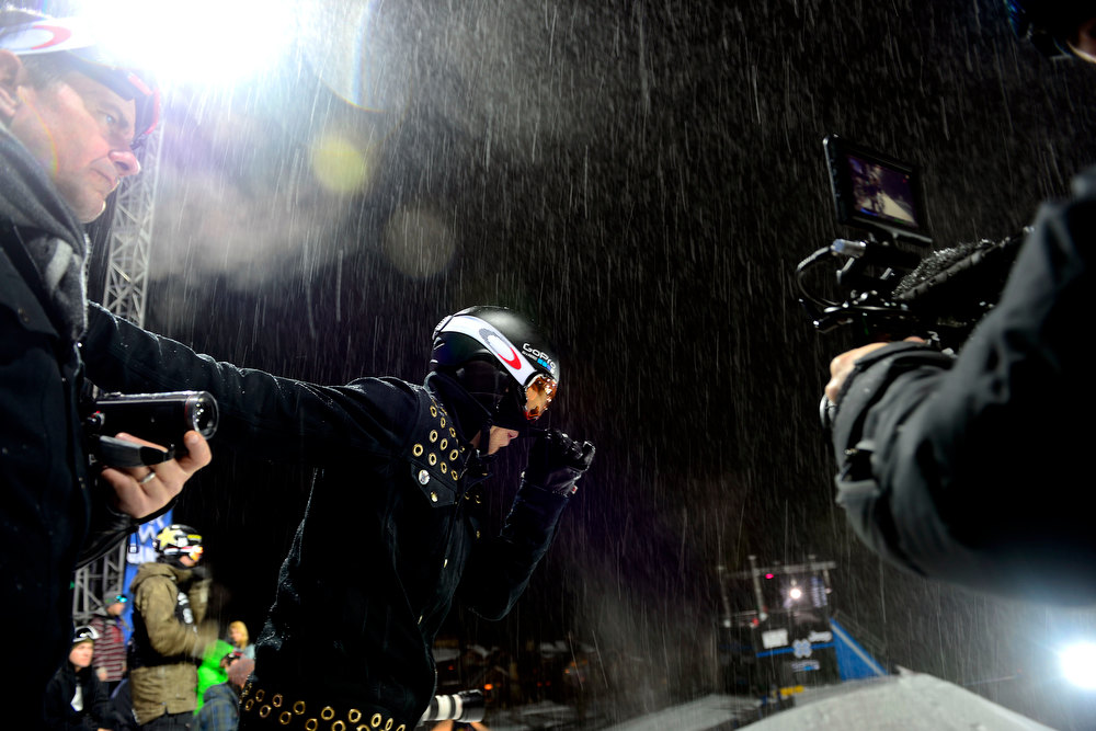 Description of . ASPEN, CO. - JANUARY 24: Shaun White breathes out during the men's Snowboard Superpipe elimination. Men's Snowboard Slopestyle elimination X Games Aspen Buttermilk Mountain Aspen January 24, 2013 (Photo By AAron Ontiveroz / The Denver Post)