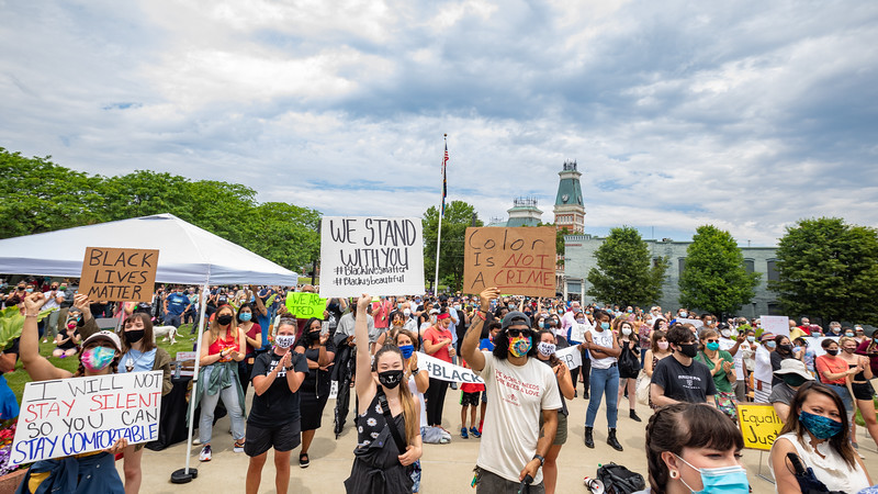 Solidarity rally in Columbus, Indiana
