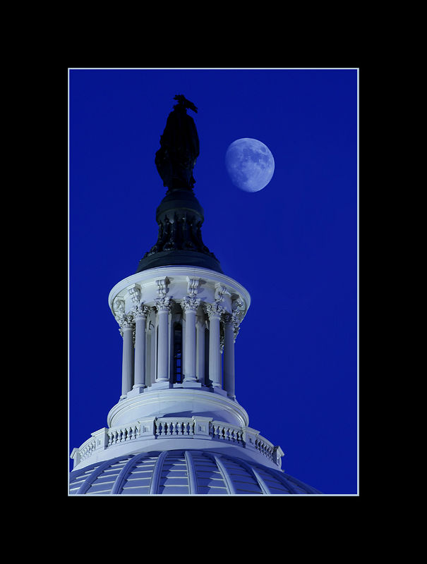 Moon over the Capitol Rotunda, Washington, DC.