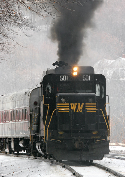 Great day for steam today...even #501 tried to get in on the act. Western Maryland Scenic Railroad