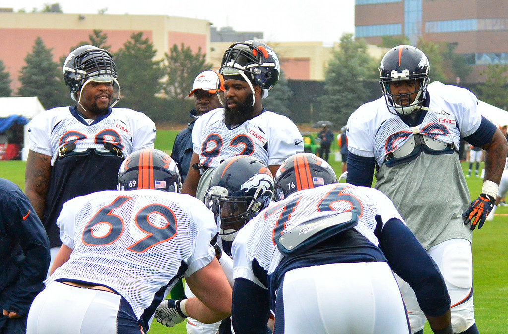 . Denver Broncos defensive tackle Terrance Knighton (98) Denver Broncos defensive tackle Sylvester Williams (92) and Denver Broncos defensive tackle Kevin Vickerson (99) take a break from drills on day seven of the Denver Broncos 2014 training camp July 31, 2014 at Dove Valley. (Photo by John Leyba/The Denver Post)