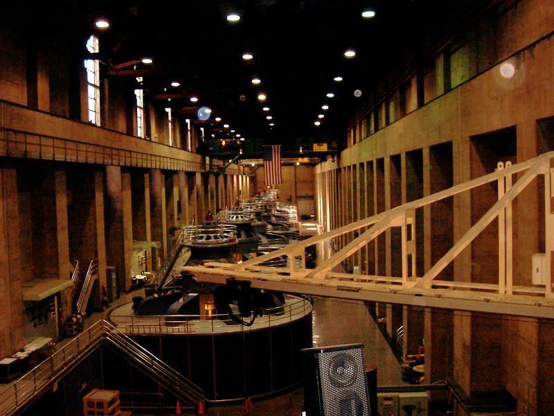 Inside the generator room at the Hoover Dam.