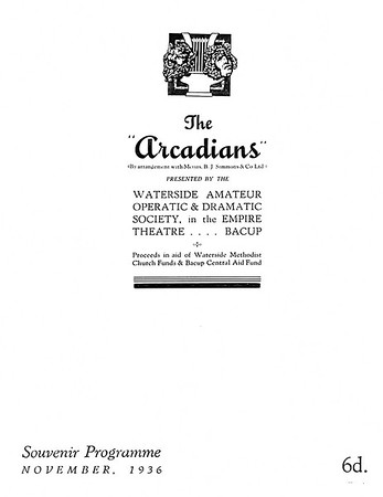 Bacup Waterside Amateur Dramatic Society The Arcadian November 1936