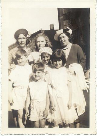 1939: Bessie Hampton Frost, Teresa Brennan Collins, Marie Yarzab, Jimmy Brennan, Gertrude Yarzab, Theresa Yarzab, Gerard Frost.