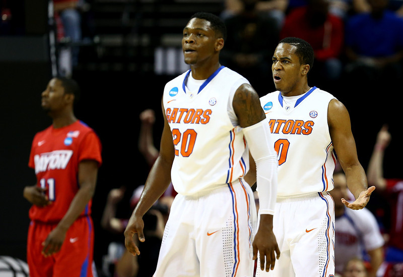 . Kasey Hill #0 of the Florida Gators reacts against the Dayton Flyers during the south regional final of the 2014 NCAA Men\'s Basketball Tournament at the FedExForum on March 29, 2014 in Memphis, Tennessee.  (Photo by Streeter Lecka/Getty Images)