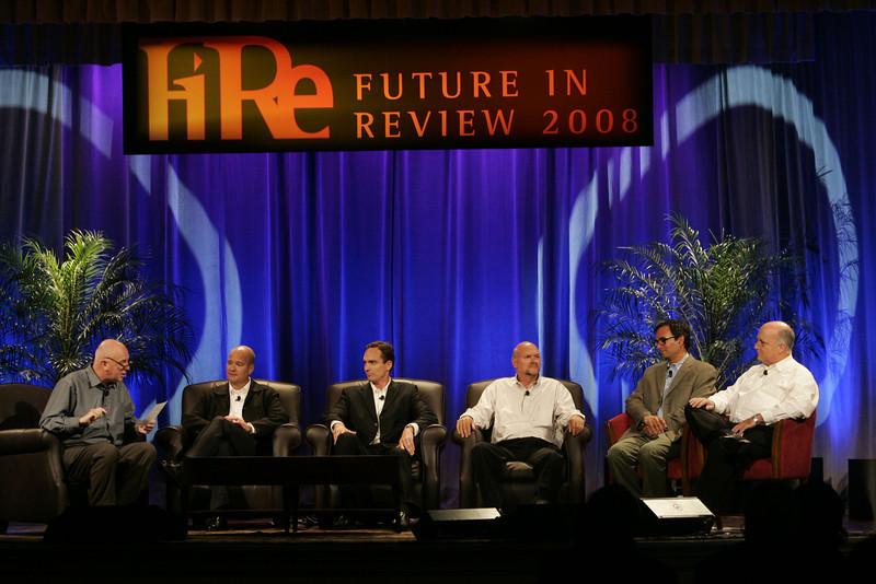 """FiReStarters II"": (L-R) Moderator Steve Evans, BBC World Service; Dave Grannan, vlingo; John Bower, uBoost; Michael Rocke,  Transonic Combustion Inc.; Nitash Balsara,  Seeo Inc.; and Hank Coleman, Open Labs"
