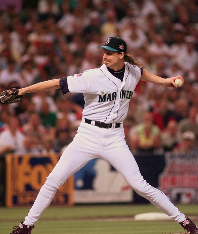 . American League starter Randy Johnson, of the Seattle Mariners, throws in the first inning against the National League in the 68th All-Star Game Tuesday,July 8, 1997 in Cleveland. (AP Photo/Mark Duncan)