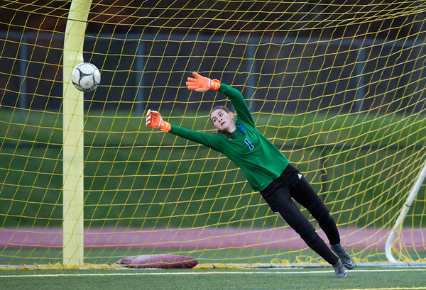 11/07/18 Wesley Bunnell | Staff Southington girl soccer was defeated in PK by Simsbury in a second round Class LL CIAC Tournament game on Wednesday night. GK Olivia Sherwood (1) is unable to come up with the save during PK's which would ultimately give Simsbury the victory.