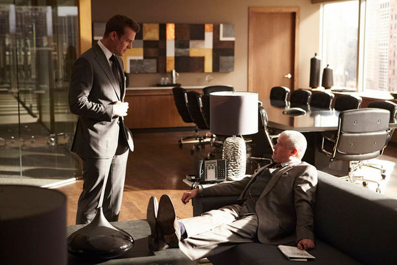 ". ""The Arrangement\"" Episode 301 -- Pictured: (l-r) Gabriel Macht as Harvey Specter, Conleth Hill as Edward Darby -- (Photo by: Ian Watson/USA Network)"