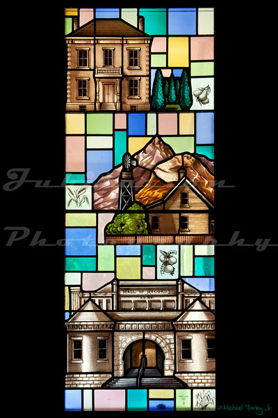 Saint John's Episcopal Church, Marysville, CA.  This window depicts early scenes from Marysville.