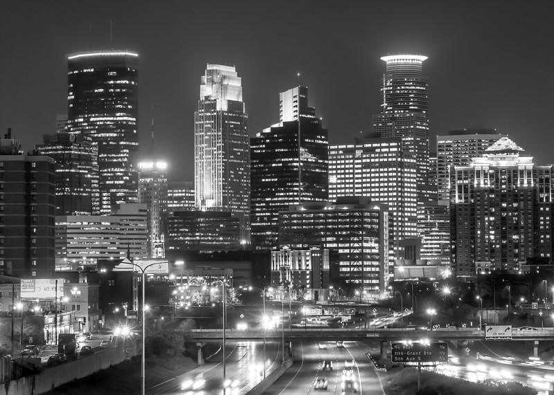 Minneapolis city skyline at night