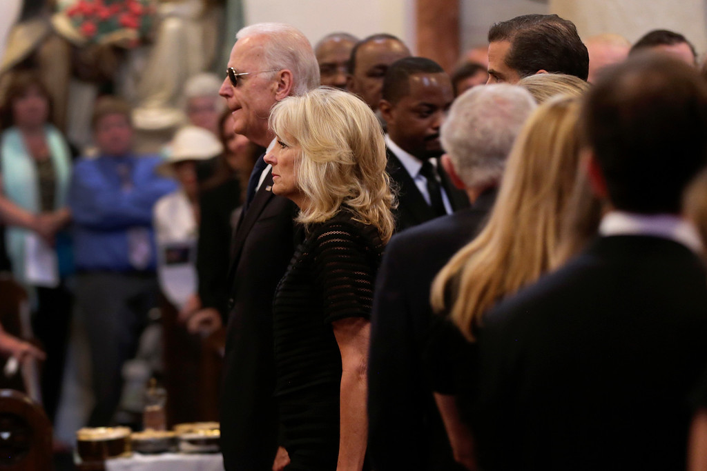 . Vice President Joe Biden and his wife Jill Biden arrive for funeral services for former Delaware Attorney General Beau Biden, Saturday, June 6, 2015, at St. Anthony of Padua Church in Wilmington, Del. Biden, the Vice President Biden\'s eldest son, died at the age of 46 after a battle with brain cancer. (AP Photo/Pablo Martinez Monsivais, Pool)