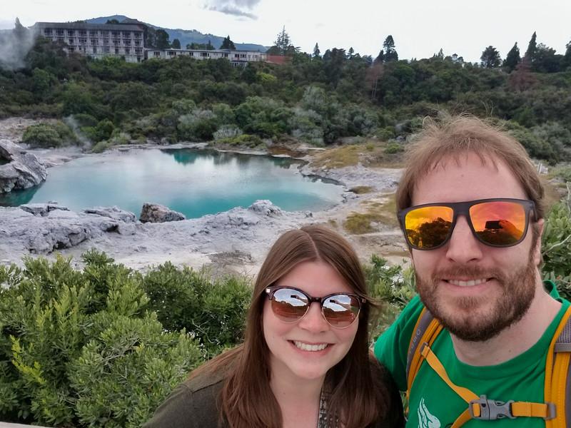 Amanda and Elliot at Te Puia in Rotorua
