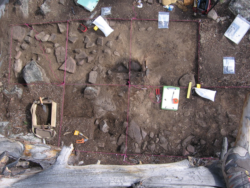 Overview of excavations at High Rise Village. By plotting nearly ten thousand stone artifacts and running their locations through an algorithm, archaeologist Orrin Koenig was able to determine where the original wooden wickiup once stood and even the direction its entrance faced.
