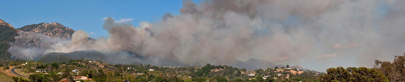 View from near San Marcos Pass, approx. 3-4 hours after the fire started.  Panoramic image stitched from 4 individual photos.