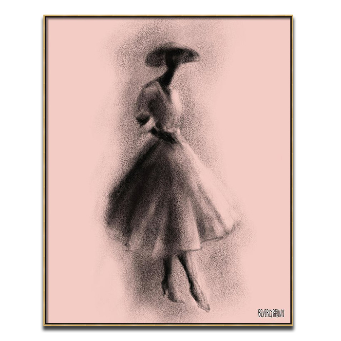 Blush Pink and Black Vintage Fashion Dior New Look Dress Wall Art Print - Beverly Brown - beverlybrown.com