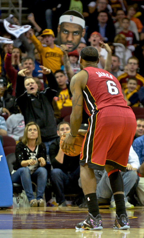 . Jeff Forman/JForman@News-Herald.com Fans heckle LeBron James as he takes a foul shot late in the fourth quarter of the Cavaliers\' 100-96 loss to the Heat March 18 at Quicken Loans Arena.