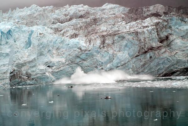 Calving of a glacier while going through Glacier Nat'l Park on a Princess Cruise