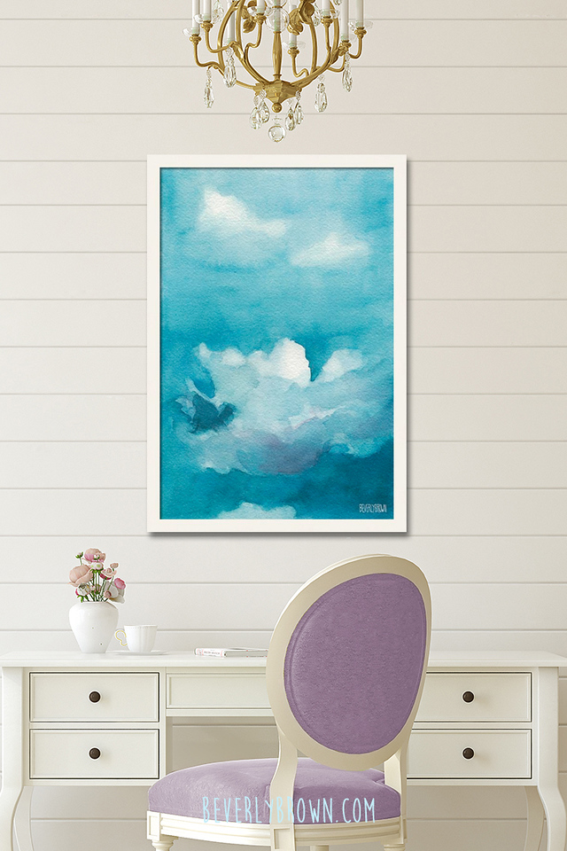 Home Office with Blue Sky White Clouds Framed Art by Beverly Brown
