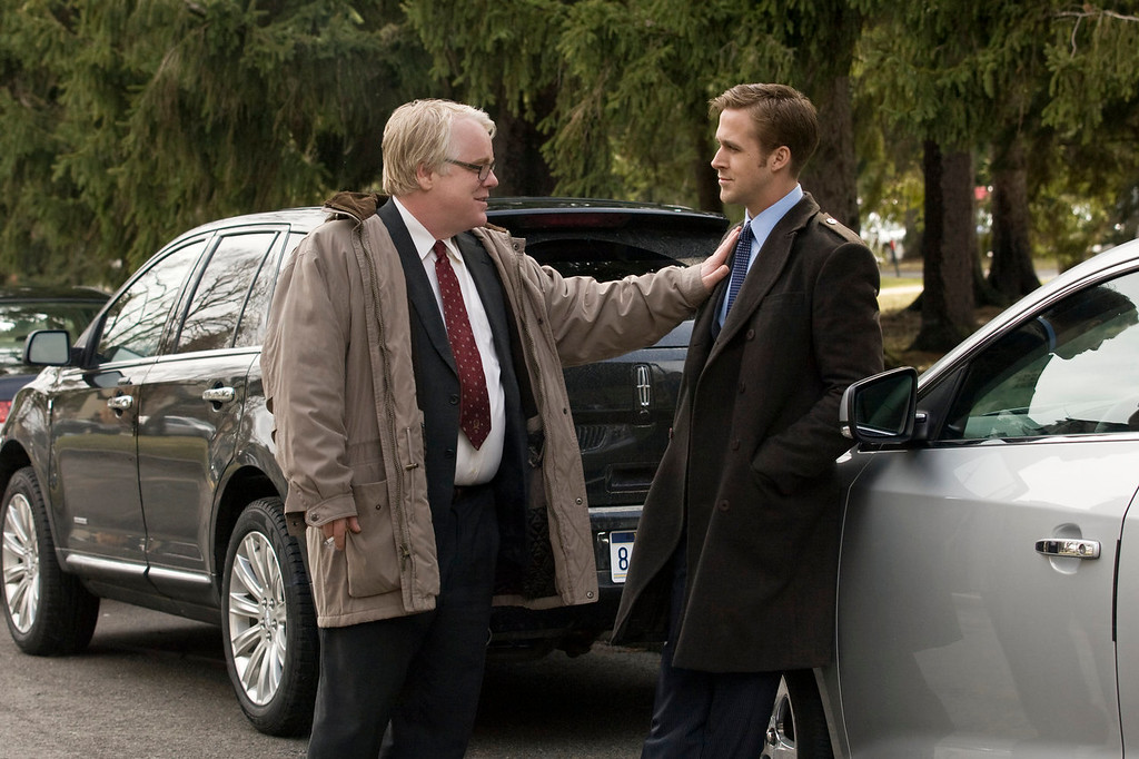 """. In this image released by Colombia Pictures, Philip Seymour Hoffman, left, and Ryan Gosling  are shown in a scene from \""""Ides of March.\"""" Police say Phillip Seymour Hoffman was found dead in his New York City apartment Sunday, Feb. 2, 2014. He was 46. (AP Photo/Columbia Pictures - Sony, Saeed Adyani, File)"""