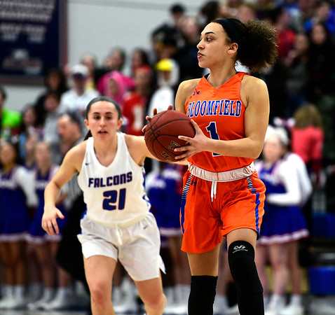 3/5/2019 Mike Orazzi | Staff Bloomfield's Amani Levitan (1) during the Class S Quarterfinals Girls Basketball Game with St. Paul Tuesday night.