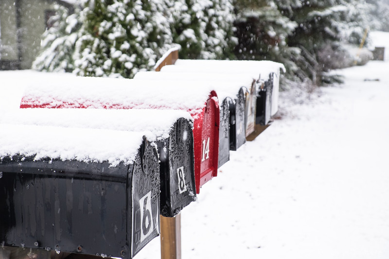 mailboxes on a snowy day