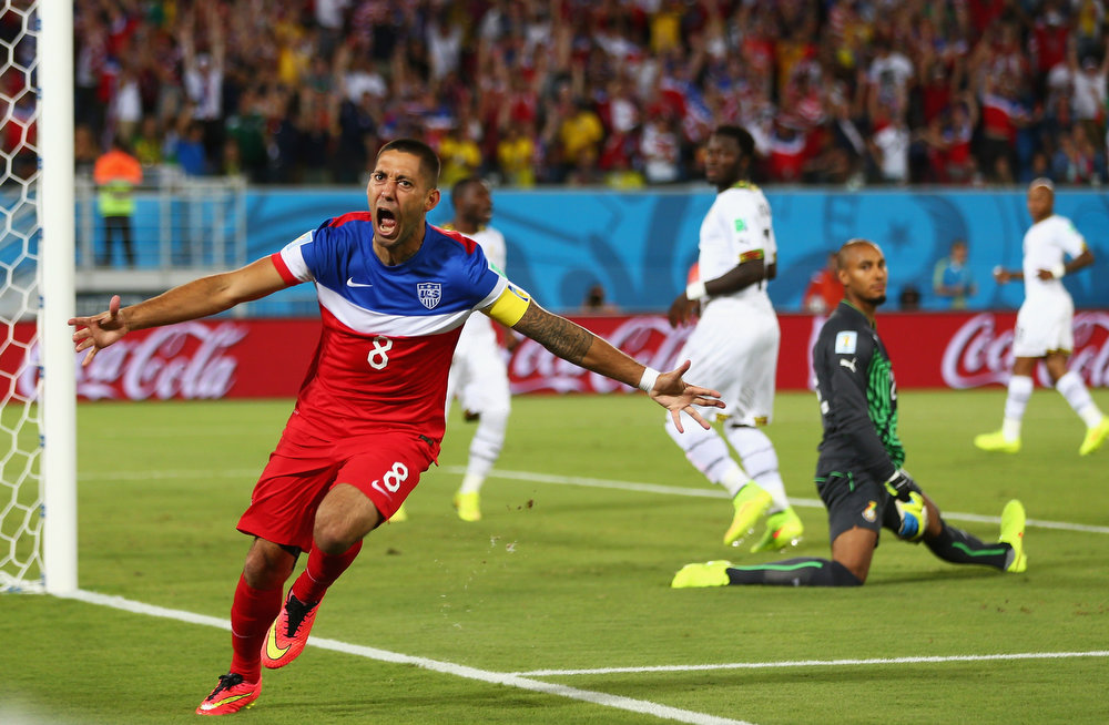 Description of . Clint Dempsey of the United States reacts after scoring his team's first goal past goalkeeper Adam Kwarasey of Ghana during the 2014 FIFA World Cup Brazil Group G match between Ghana and the United States at Estadio das Dunas on June 16, 2014 in Natal, Brazil.  (Photo by Michael Steele/Getty Images)