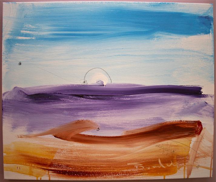 """2011, 20"""" x 24"""". Joan's Beach. Acrylic and pencil on canvas."""