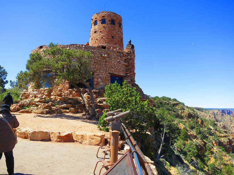 Thursday morning - coming north from a few days in Flagstaff and now ready for some adventuring off the South Rim. ... Here's the Desert View Watchtower, near the east end of the GC.