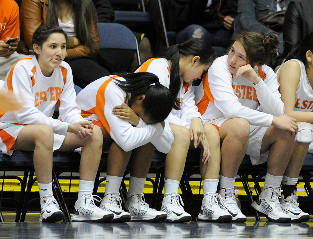 . The St. Joseph bench appears to be in agony in the final moments of the game. Chaminade defeated St. Joseph 74-30 in the Girls Div. 3A Finals at the Anaheim Convention Center in Anaheim, CA 2/23/2013(John McCoy/Staff Photographer)