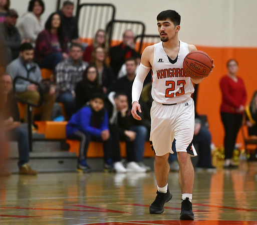2/14/2020 Mike Orazzi | StaffrTerryville High School's Sean O'Donnell (23) during Friday evening's boys basketball game with Thomaston in Terryville. rr