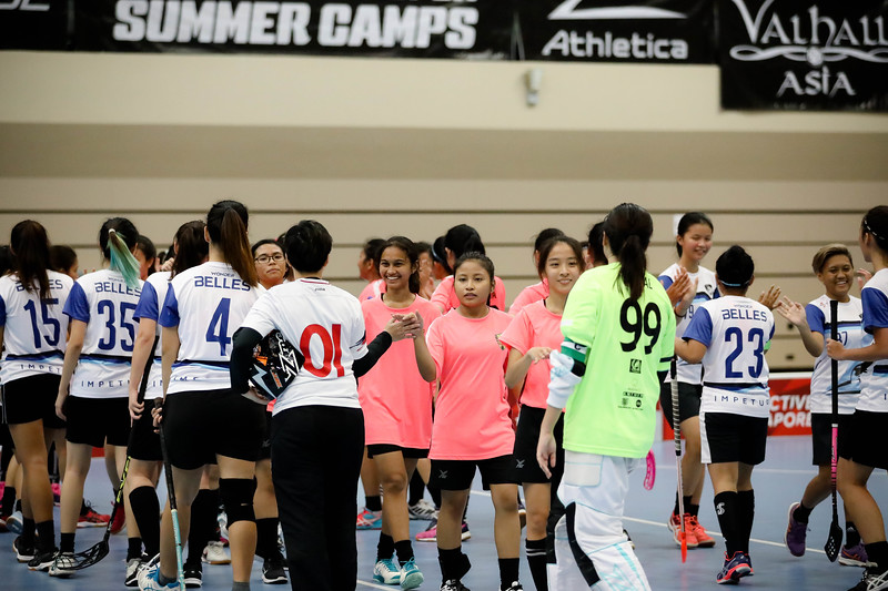 Players greeting each other during Getactive floorball at One Tampines Hub at Tampines, Singapore on 27th July 2018. Photo by Sanketa Anand/Sport Singapore