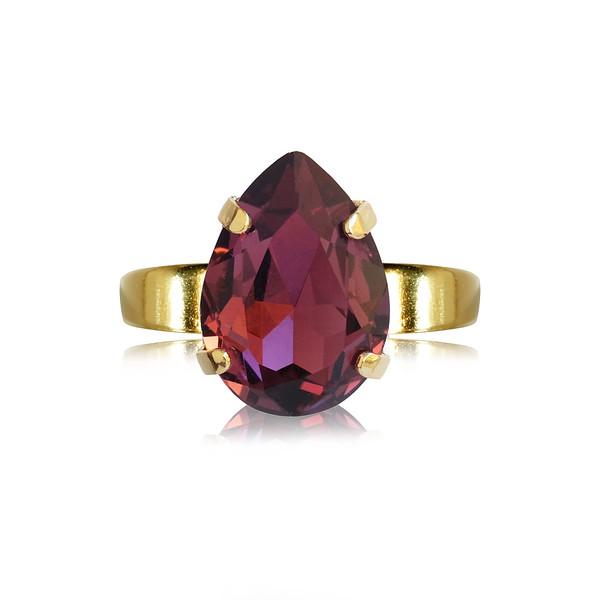 Mini Drop Ring / Burgundy / Gold