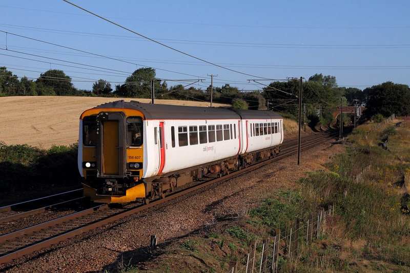 156407 on the 2W03 0621 Bury St Edmunds to Ipswich at Baylham on the 4th August 2015.JPG