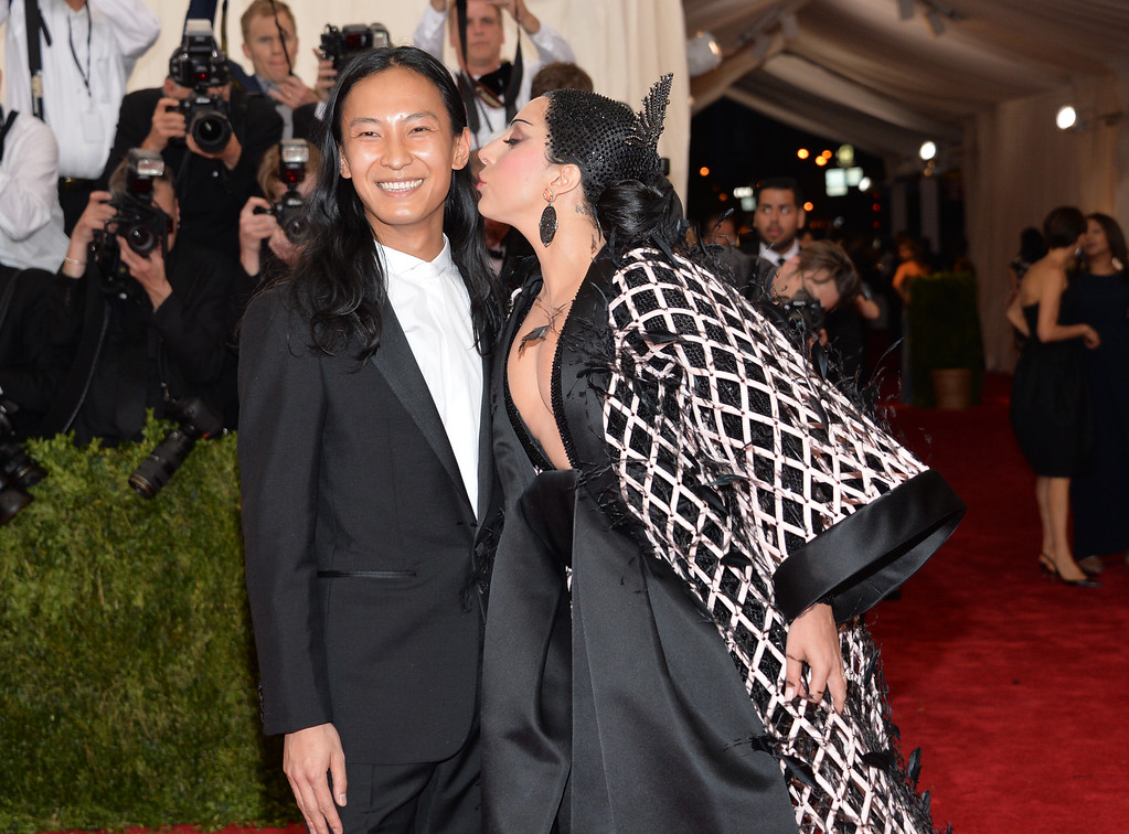 """. Alexander Wang and Lady Gaga arrives at The Metropolitan Museum of Art\'s Costume Institute benefit gala celebrating \""""China: Through the Looking Glass\"""" on Monday, May 4, 2015, in New York. (Photo by Evan Agostini/Invision/AP)"""