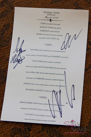 We asked the three chefs to sign our menu as a souvenir of the evening. © 2013 Sugar + Shake