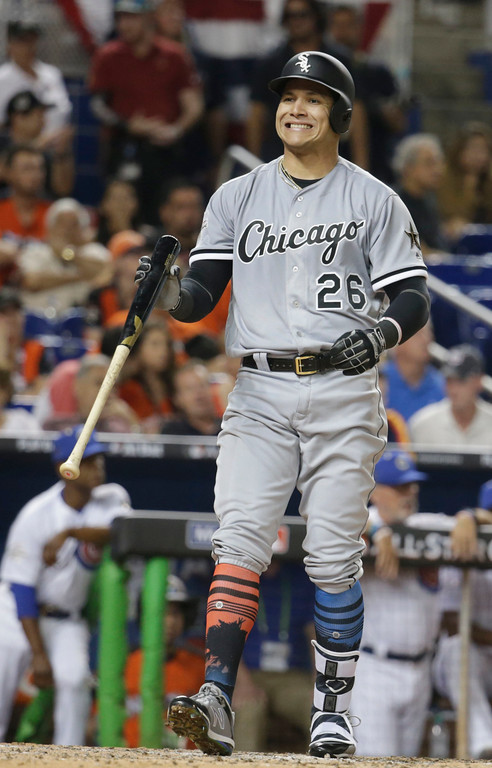 . American League\'s Chicago White Sox outfielder Avisaíl Garcĺa (26), gestures after striking out in the ninth inning, during the MLB baseball All-Star Game, Tuesday, July 11, 2017, in Miami. (AP Photo/Wilfredo Lee)