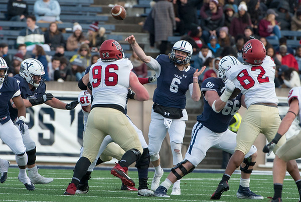 11/23/19 Wesley Bunnell | StaffrrYale rallied late in The Game against Harvard on Saturday afternoon at the Yale Bowl for a 50-43 victory in double over time. Kurt Rawlings (6) passes.