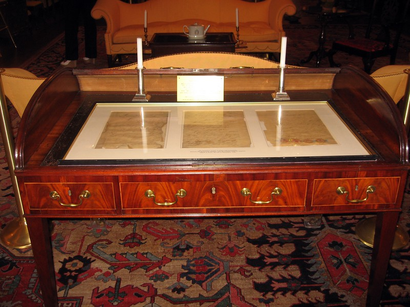 The Treaty of Paris of 1783, and the desk on which it was signed