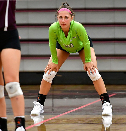 10/1/2019 Mike Orazzi | StaffrBristol Central's Gwen Torreso (38) during Tuesday's volleyball match with Platt at BC.