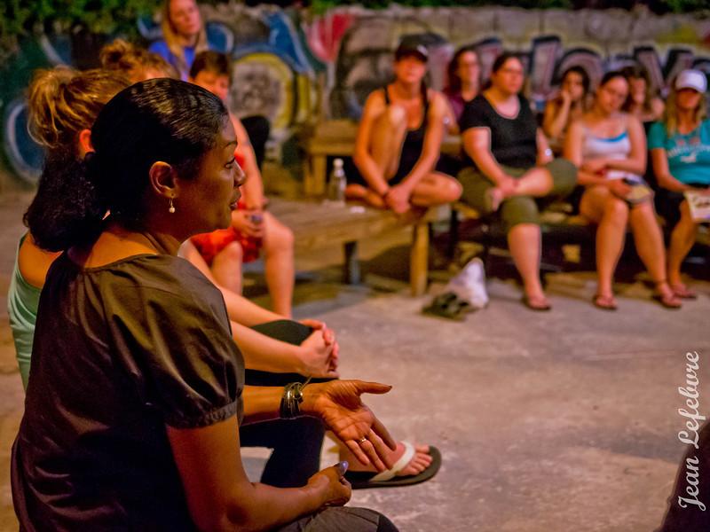 Linda Boucard from Fonkoze addresses the Schlegel Villages Group in Haiti.